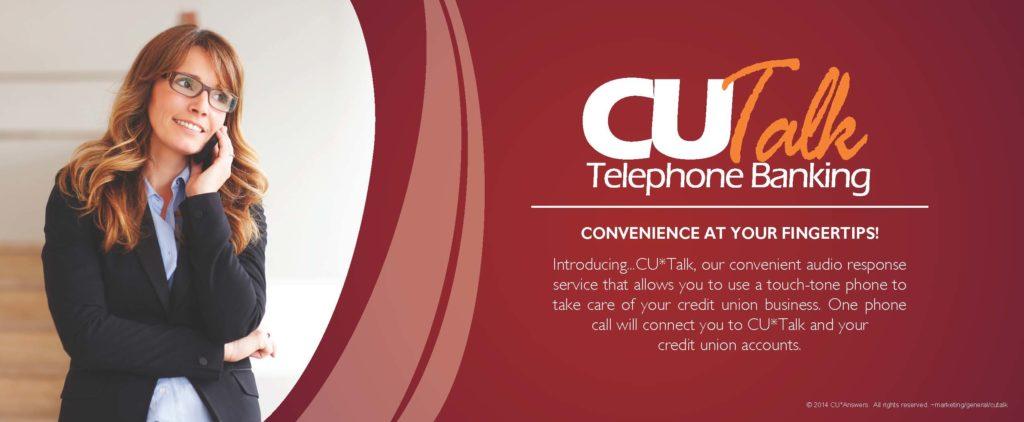 CU Talk Telephone banking banner